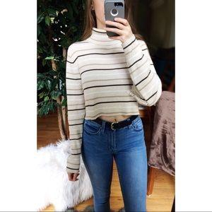 🌿 Vtg 90's Striped Turtleneck Crop Sweater 🌿